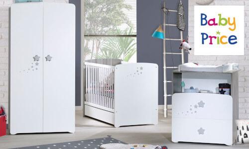 Chambre pour bébé de la marque Baby Price: lits bébés duo ou trio, lits combinés évolutifs, commodes à langer, armoires